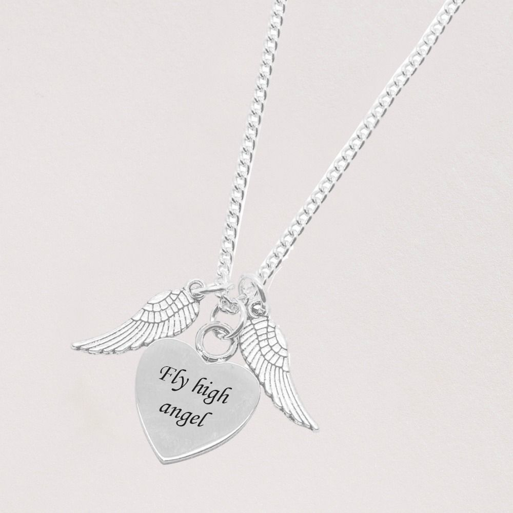wings necklace with engraving someone remembered