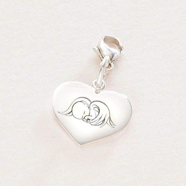 Sterling Silver Heart Charm With Angel Baby Engraving