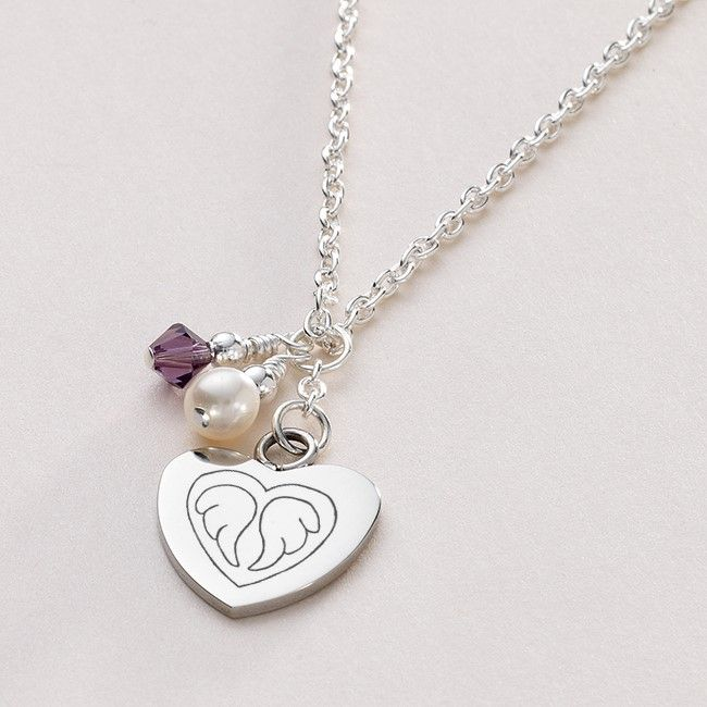 Birthstone Necklace With Angel Wings Engraved Someone