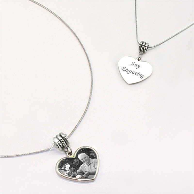 Engraved photo heart memorial necklace someone remembered aloadofball Image collections