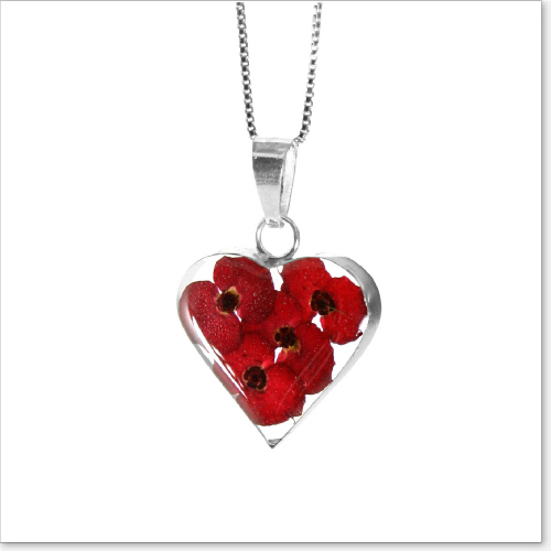 Remembrance Necklace, Poppy Collection Heart (Optional Engraving)
