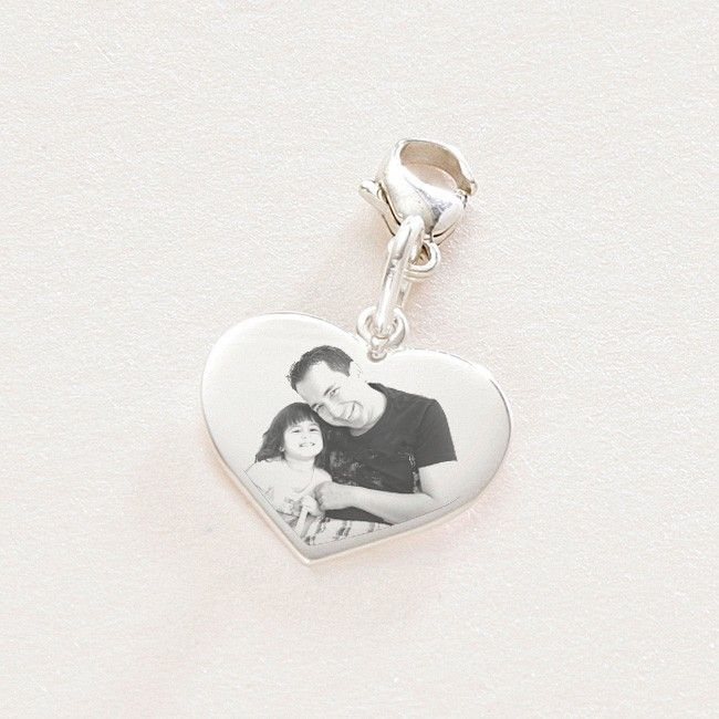 Any Photo, Silver Heart Charm. | Someone Remembered